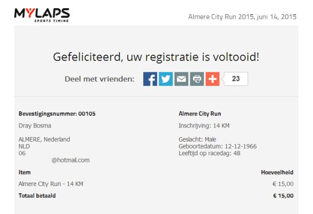 Inschrijving Almere City Run